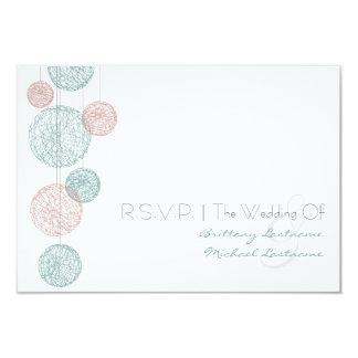 Peach & Blue Twine Globes Wedding R.S.V.P. 3.5x5 Paper Invitation Card