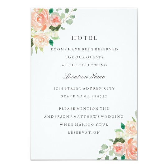 Peach Blush Floral Wedding Hotel Accommodation Card
