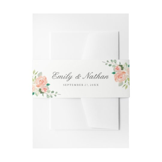 Peach Blush Watercolor Floral Wedding Belly Band Invitation