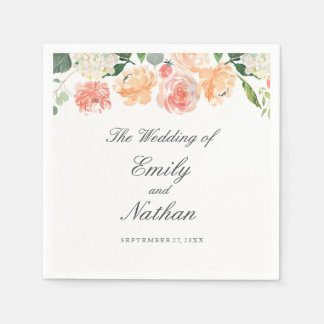 Peach Blush Watercolor Floral Wedding Napkin Disposable Napkins