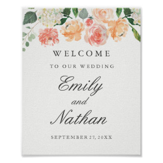 Peach Blush Watercolor Floral Welcome Wedding Sign