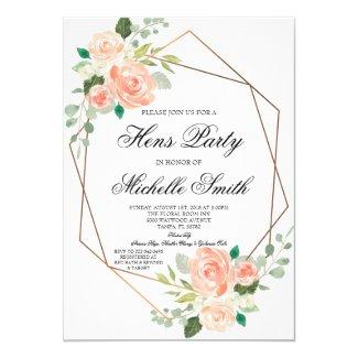 Peach Boho Floral Geometric Hens Party Invitation