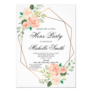 Peach Boho Floral Geometric Hens Party Invitation