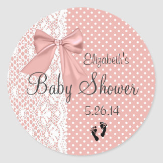 Peach Bow White Lace Baby Shower Favor Round Sticker