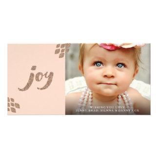 Peach & Bronze Glitter Joy Xmas Photo Card