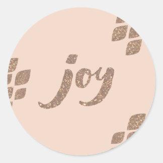 Peach & Bronze Glitter Joy Xmas Stickers
