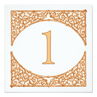 Peach & Brown Rustic Wood Screen Table Number 1 13 Cm X 13 Cm Square Invitation Card