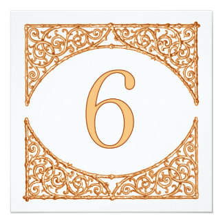 Peach & Brown Wood Screen Country Table Number 6 13 Cm X 13 Cm Square Invitation Card