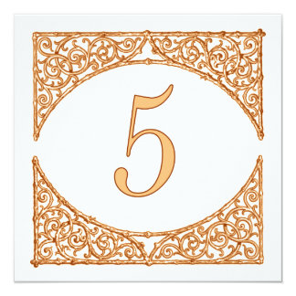 Peach & Brown Wood Screen Rustic Table Number 5 13 Cm X 13 Cm Square Invitation Card