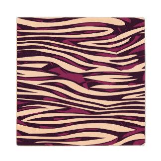 Peach Burgundy Zebra Abstract Maple Wood Coaster