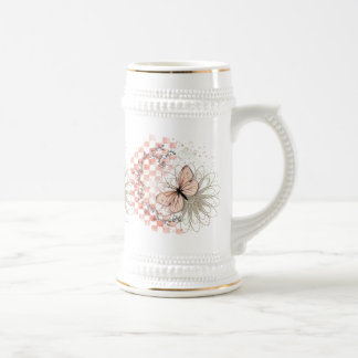 Peach Butterfly on Flower Stein