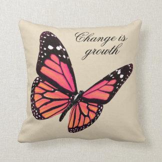 Peach Butterfly Throw Pillow