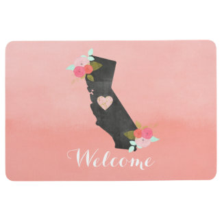 Peach California State Watercolor Floral Welcome Floor Mat