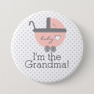 Peach Carriage Baby Shower Grandma 7.5 Cm Round Badge