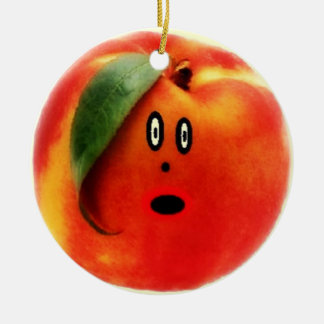 Peach Cartoon Face Round Ceramic Decoration