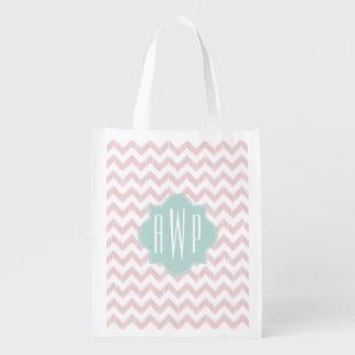 Peach Chevron Ikat Monogram Grocery Bags
