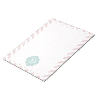 Peach Chevron Ikat Monogram Notepad