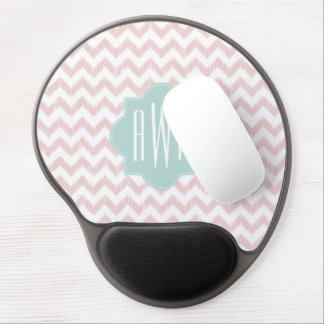 Peach Chevron Ikat Monogrammed Gel Mousepad