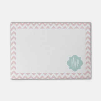 Peach Chevron Ikat Monogrammed Post It Notes Post-it® Notes