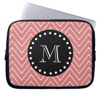 Peach Chevron Pattern | Black Monogram Laptop Sleeve