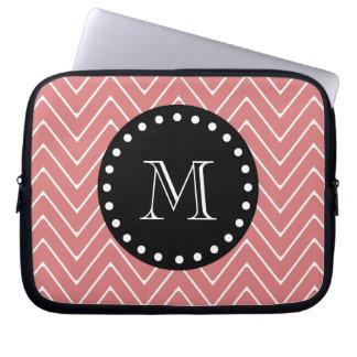 Peach Chevron Pattern | Black Monogram Laptop Sleeves