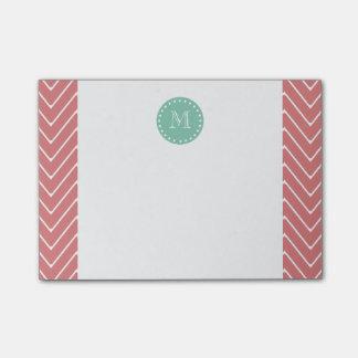 Peach Chevron Pattern | Mint Green Monogram Post-it Notes