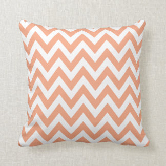 Peach Chevron Zigzag Stripe Pattern Throw Pillow