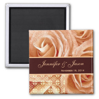 Peach & Chocolate Wedding Lace Rose Bouquet Square Magnet