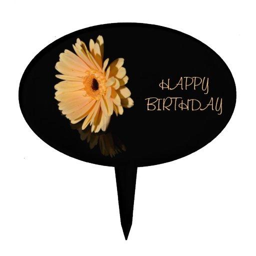 Peach chrysanthemum flower Happy Birthday Cake Topper