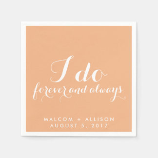 Peach Classic I Do Wedding Napkin Disposable Napkins