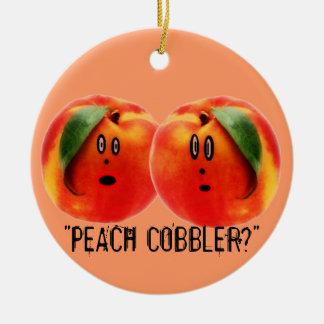 Peach Cobbler Scare Round Ceramic Decoration