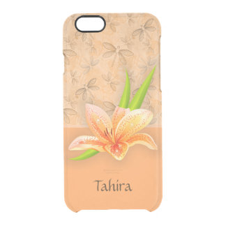Peach Color Lilium and Nature Art in Peach Pattern Clear iPhone 6/6S Case