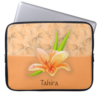 Peach Color Lilium and Nature Art in Peach Pattern Laptop Sleeve