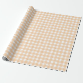 Peach Colored Classic Gingham Checked Pattern Wrapping Paper