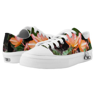 Peach Colored Flowers Low Top Zipz Sneakers