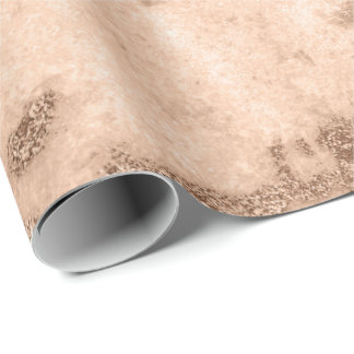 Peach Coral Creamy Blush Marble Metallic Pastel Wrapping Paper
