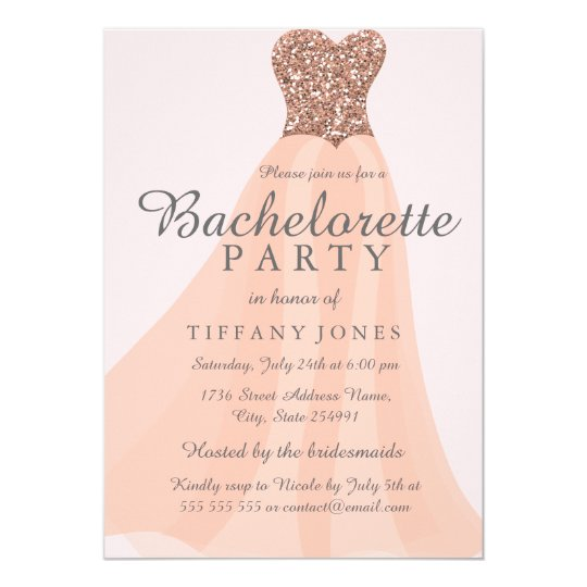 Peach Coral Glitter Dress Bachelorette Invite