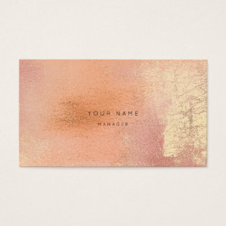Peach Coral Gold Metalli Abstract Appointment Card