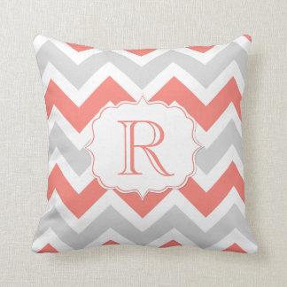 Peach Coral Gray White Chevron Pattern Monogram Cushion