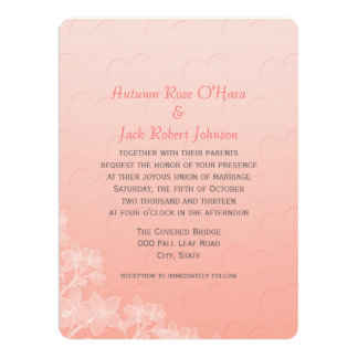 Peach Coral Hearts and Flowers Wedding Invite