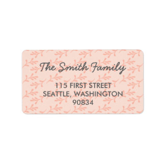 Peach Coral Pink Address Labels