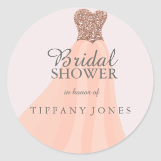 Peach Coral Sparkling Glitter Gown Bridal Shower Round Sticker