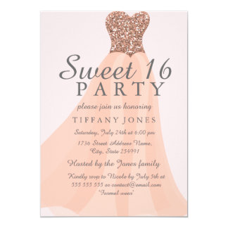 Peach Coral Sparkling Glitter Gown Sweet 16 Invite
