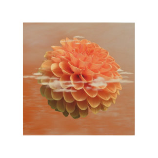Peach Dahlia Reflection In Water Wood Print