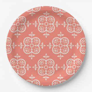 Peach Damask 9 Inch Paper Plate