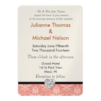Peach Damask Diamond Heart Wedding 13 Cm X 18 Cm Invitation Card