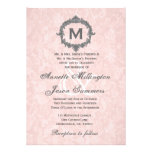 Peach Damask Grey Vintage Frame Monogram Wedding Invitation