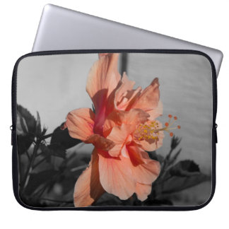 Peach Double Hibiscus Flower Selective Color Photo Laptop Sleeve