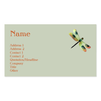 Peach Dragonfly Profile Card Business Card