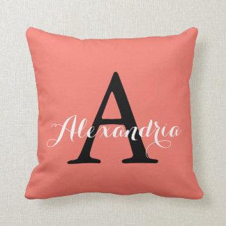 Peach Echo Soft Orange Coral Solid Color Monogram Cushions
